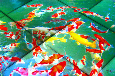 Poster featuring the digital art Koi Mosaic II by Manny Lorenzo