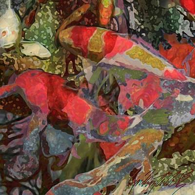 Koi Pond - Square Poster by Lyn Voytershark