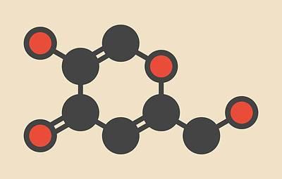Kojic Acid Molecule Poster by Molekuul