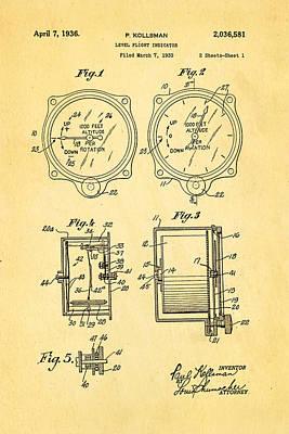Kollsman Altimeter Patent Art 1936 Poster by Ian Monk