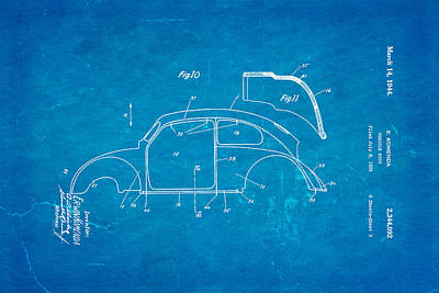 Komenda Vw Beetle Body Design Patent Art 2 1944 Blueprint Poster
