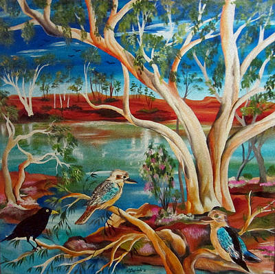Poster featuring the painting Kookaburras Billabong by Roberto Gagliardi
