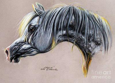 Kordelas Polish Arabian Horse Soft Pastel Poster by Angel  Tarantella