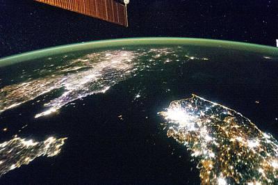 Korea At Night Poster by Nasa