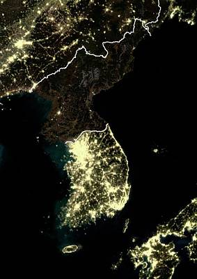 Korean Peninsula At Night Poster
