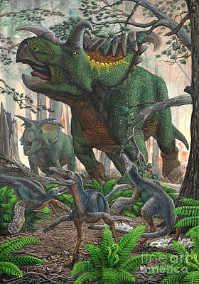 Kosmoceratops Tramples Over Nesting Poster