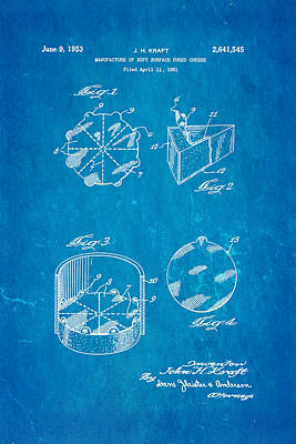 Kraft Cheese Triangle Patent Art 1951 Blueprint Poster by Ian Monk