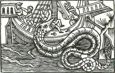 Kraken Attacking Ship, 16th Century Poster by Photo Researchers