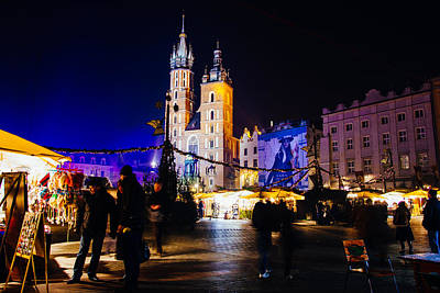 Krakow By Night Poster by Pati Photography