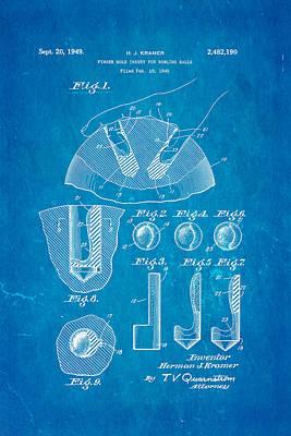 Kramer Bowling Bowl Finger Hole Insert Patent Art 1949 Blueprint Poster by Ian Monk