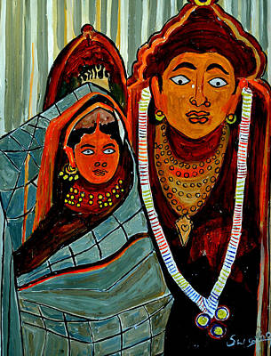 Poster featuring the painting Krishna And Radha by Anand Swaroop Manchiraju