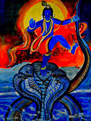 Poster featuring the painting Krishna On Kalindimardan by Anand Swaroop Manchiraju