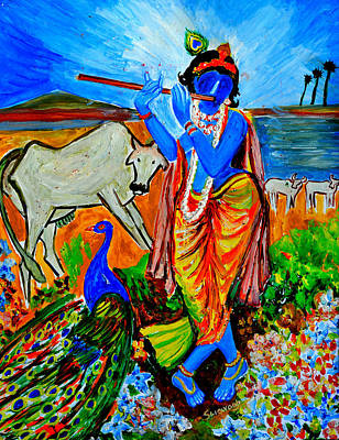 Poster featuring the painting Krishna With Cow by Anand Swaroop Manchiraju
