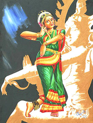 Poster featuring the painting Kuchipudi- The Dance Of The Gods by Ragunath Venkatraman