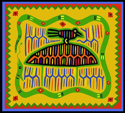 Kuna Bird With Snake Poster by Vagabond Folk Art - Virginia Vivier