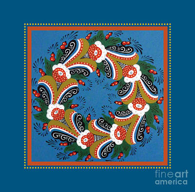 Kurbits Wreath Blue Poster