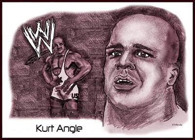 Poster featuring the mixed media Kurt Angle by Chris  DelVecchio