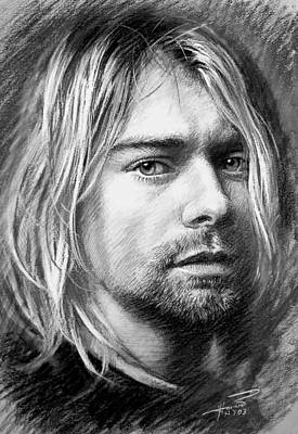 Poster featuring the drawing Kurt Cobain by Viola El