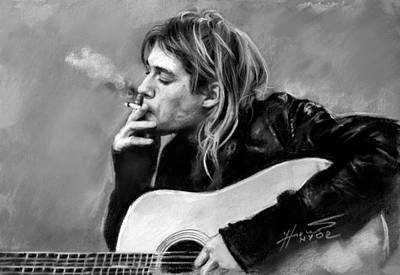 Poster featuring the drawing Kurt Cobain Guitar  by Viola El