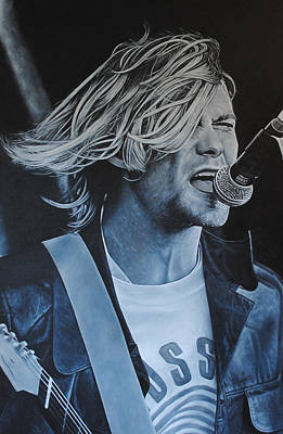 Poster featuring the painting Kurt Cobain Live by David Dunne