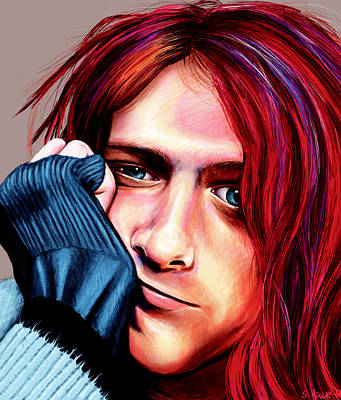 Poster featuring the painting Kurt Cobain by Shawna Rowe