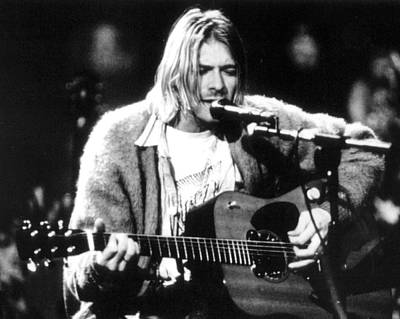 Kurt Cobain Singing And Playing Guitar Poster by Retro Images Archive