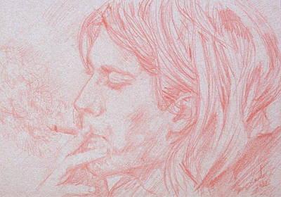 Kurt Cobain Smoking-pencil Portrait Poster by Fabrizio Cassetta