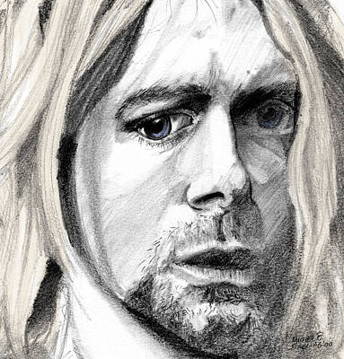 Poster featuring the drawing Kurt by Michele Engling