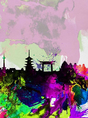 Kyoto Watercolor Skyline Poster by Naxart Studio