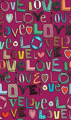 l o v e LOVE pink Poster