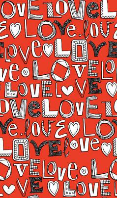 l o v e LOVE red white Poster