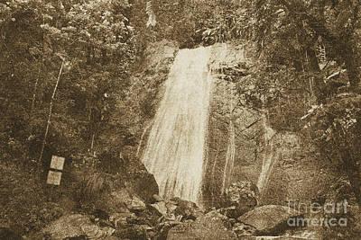 La Coca Falls El Yunque National Rainforest Puerto Rico Print Vintage Poster by Shawn O'Brien