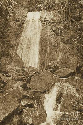 La Coca Falls El Yunque National Rainforest Puerto Rico Prints Vintage Poster by Shawn O'Brien