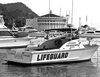 L A County Lifeguard Boat B W Poster by Jeff Gater