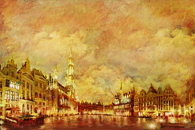 La Grand Place Brussels Poster by Catf