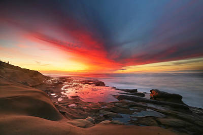 La Jolla Reef Sunset 13 Poster by Larry Marshall