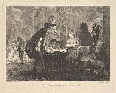 La Marchande De Chataignes The Chestnut Poster by Chevalier de Parlington
