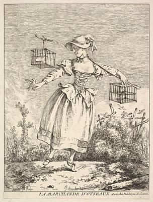 La Marchande Doyseaux The Bird Merchant Poster by Jacques Gabriel Huquier