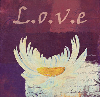 La Marguerite - Love Burgundy Poster by Variance Collections
