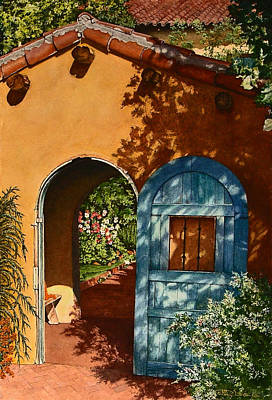 La Posada Hotel Hollyhock Garden Winslow Az Poster