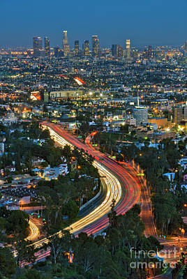 La Skyline Night Magic Hour Dusk Streaking Tail Lights Freeway Poster by David Zanzinger