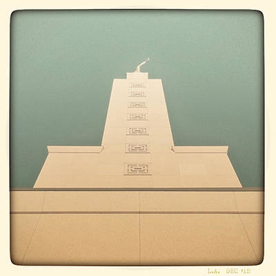 Poster featuring the photograph L.a. Temple Green by Kevin Bergen