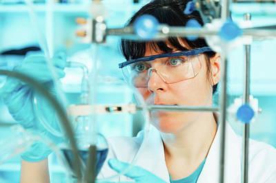 Lab Technician Using Lab Equipment Poster