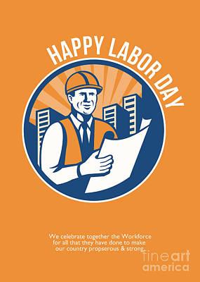 Labor Day Celebration Poster Retro Poster by Aloysius Patrimonio