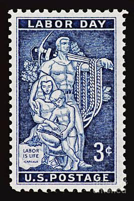 Labor Day Vintage Postage Stamp Print Poster