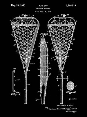 Lacrosse Stick Patent 1948 - Black Poster by Stephen Younts