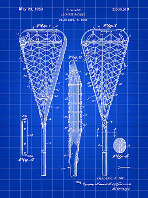 Lacrosse Stick Patent 1948 - Blue Poster by Stephen Younts