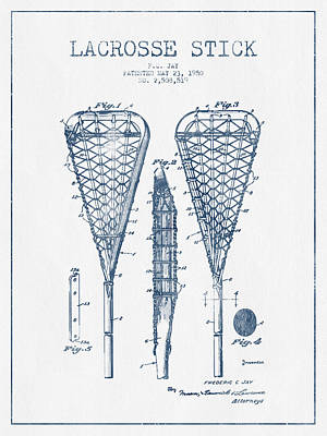 Lacrosse Stick Patent From 1950  -  Blue Ink Poster by Aged Pixel
