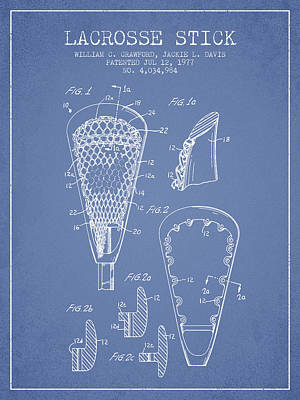 Lacrosse Stick Patent From 1977 -  Light Blue Poster by Aged Pixel