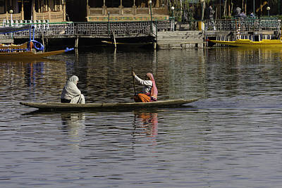 Ladies Plying A Small Boat In The Dal Lake In Srinagar - In Fron Poster by Ashish Agarwal